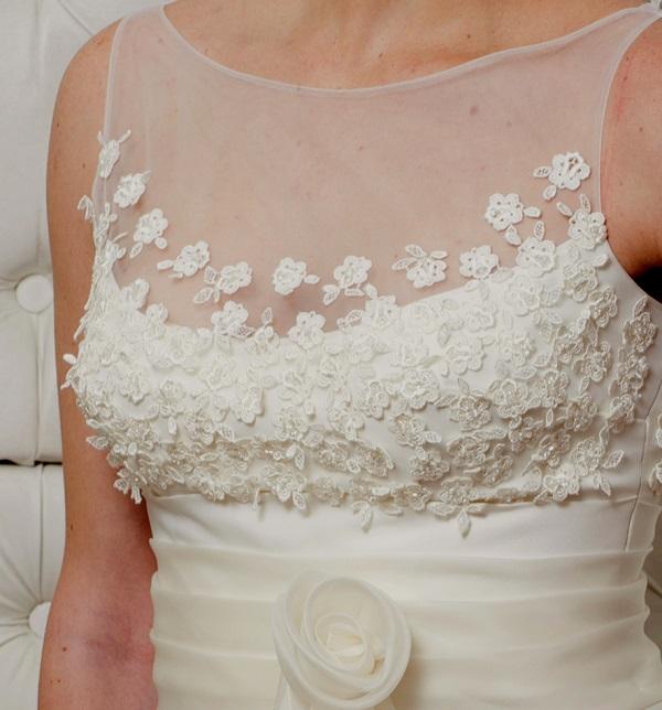 vestito da sposa di pizzo macramè
