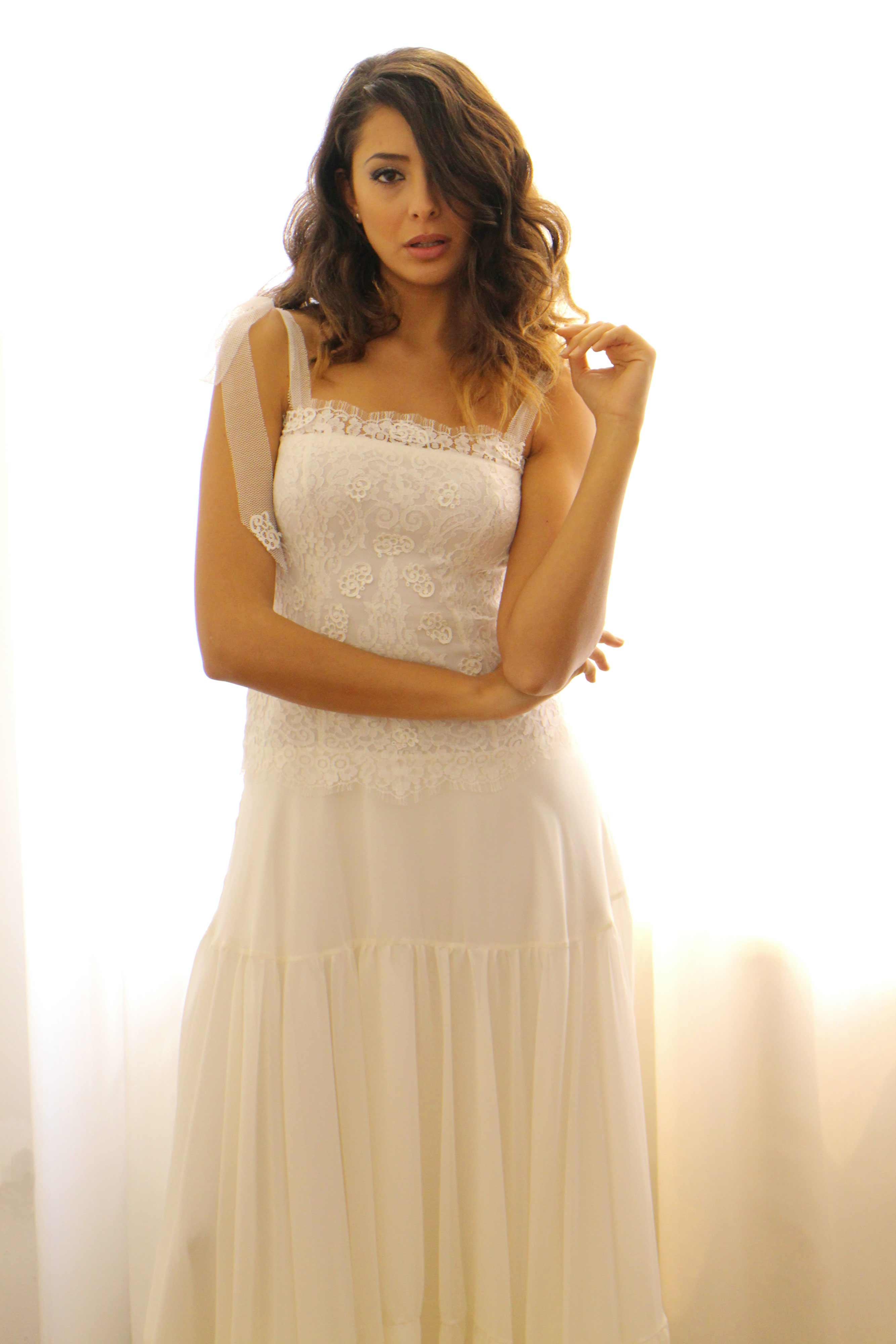 abito da sposa in georgette e macramè