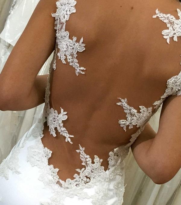 abito da sposa a sirena prova sartoria