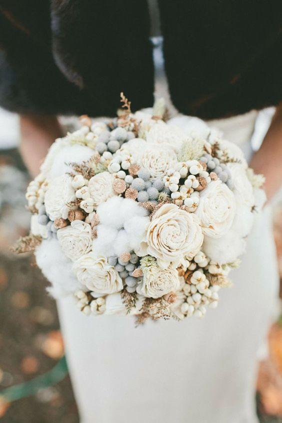 bouquet sposa con fiori di cotone