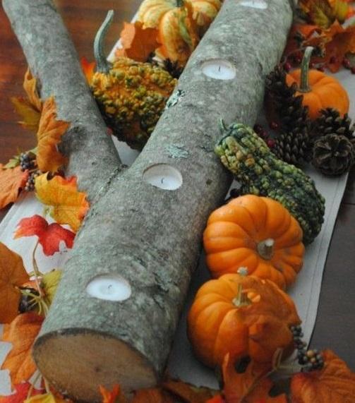 legno zucche e candele